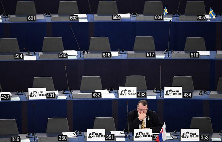The European Parliament prepares for a debate on press freedom in Strasbourg in March, following the murder of Slovak investigative journalist Ján Kuciak. The Council of Europe's platform on journalist safety finds the media increasingly faces hostility. (AFP/Frederick Florin)
