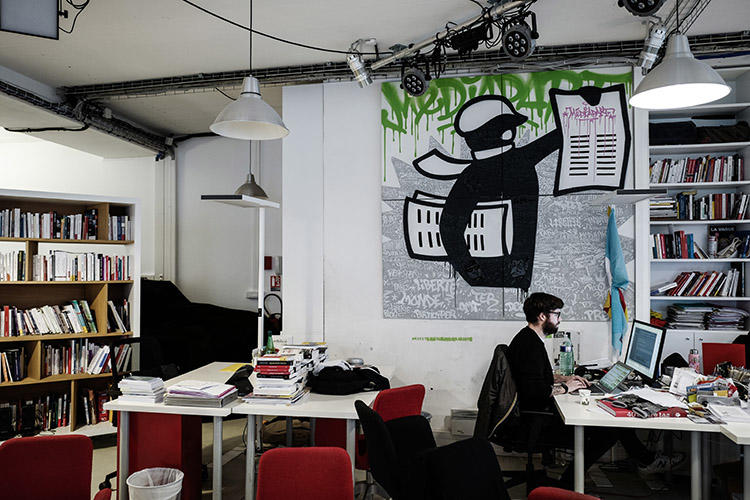 The Paris office of Mediapart, pictured on February 4. The news website is refusing to allow police to search its office in connection to Mediapart's reporting on former presidential security officer Alexandre Benalla. (AFP/Philippe Lopez)