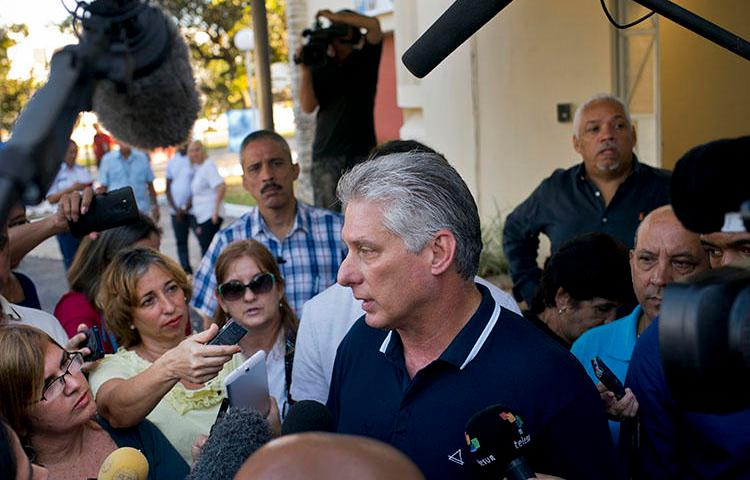 President Miguel Díaz-Canel talks to the press in Havana on February 24 after voting in a referendum on a new constitution in Havana. Several critical news sites were blocked in Cuba on the date of the vote. (AP/Ramon Espinosa)