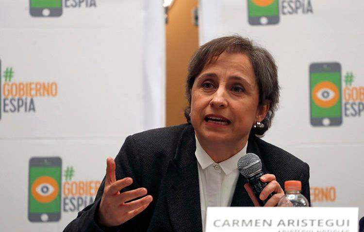 Mexican journalist Carmen Aristegui speaks during a press conference in Mexico City on June 19, 2017. The Mexican Supreme Court on February 13, 2019, declared her 2015 firing by broadcaster MVS Noticias illegal. (AP Photo/Eduardo Verdugo)