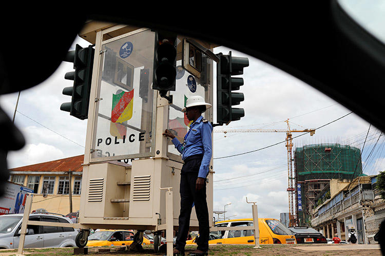 A traffic policewoman pictured in Yaoundé in October 2018. A journalist was attacked outside his home in the city on January 31. (Reuters/Zohra Bensemra)