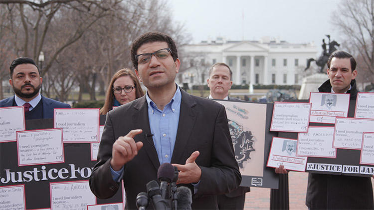 CPJ's Middle East and North Africa Program Coordinator Sherif Mansour (center) speaks during a press conference outside the White House in Washington D.C. on February 7, 2019, demanding justice for slain Saudi journalist Jamal Khashoggi. (CPJ)