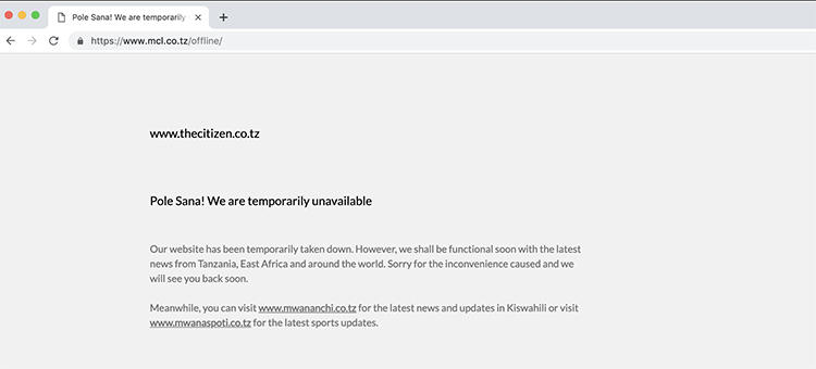 A February 28 screenshot of The Citizen website shows a message telling readers the outlet is temporarily off line. (CPJ)