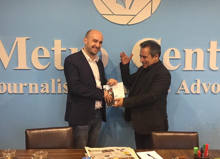 CPJ's Ignacio Miguel Delgado Culebras, left, with Rahman Gharib, director of the Metro Center for Journalists' Rights and Advocacy in Sulaymaniyah. The center documented over 300 press freedom violations in Iraqi Kurdistan in 2018. (Muhamad Tayyib)
