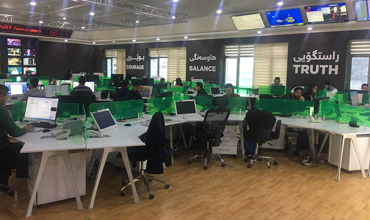 The NRT newsroom in Sulaymaniyah, in February 2019. Authorities raided the outlet's Dohuk office in January and detained staff. (CPJ)