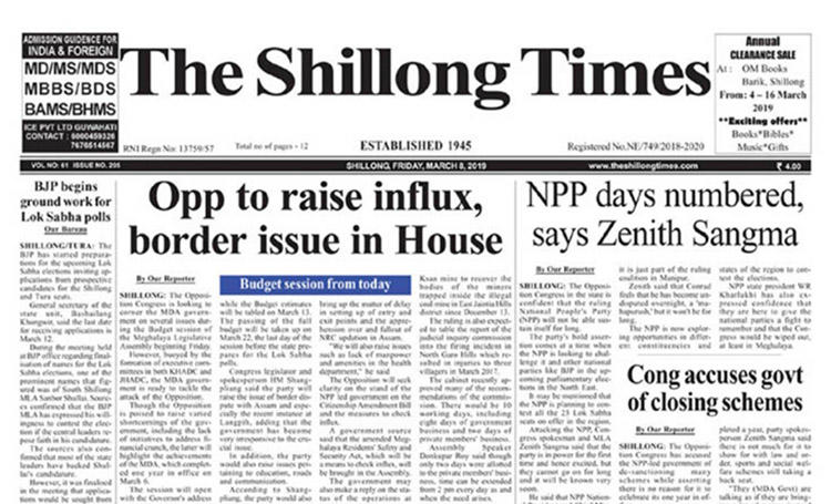 A screenshot of The Shillong Times. The Meghalaya state High Court fined the paper's publisher and editor over an opinion piece published in December. (CPJ)