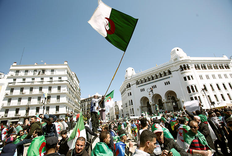 People protest in Algiers, Algeria, March 29, 2019. Two foreign reporters were recently expelled from the country. (Ramzi Boudina/Reuters)