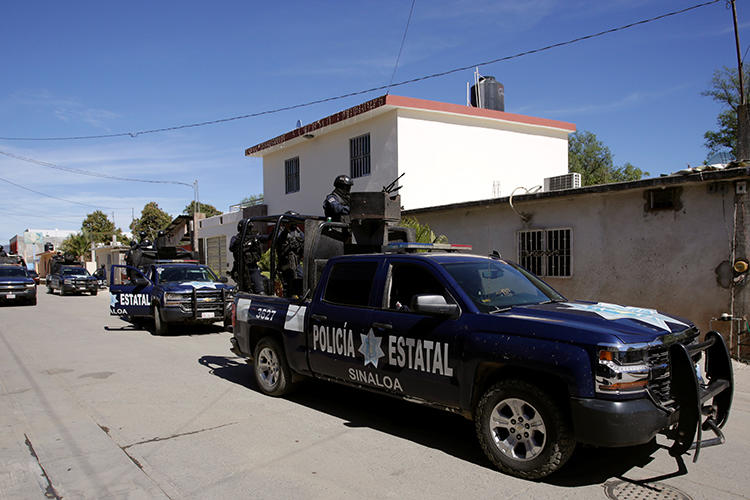 State police patrol in the state of Sinaloa, Mexico, on February 15, 2019. Journalist Omar Camacho was recently found dead in the state. (Daniel Becerril/Reuters)
