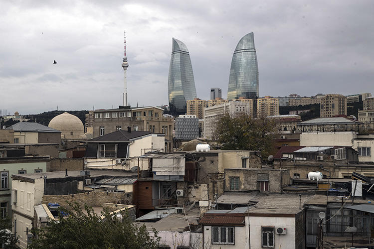 Baku, Azerbaijan, is seen on November 23, 2017. Blogger Mehman Huseynov was recently barred from leaving the country. (AP/Pavel Golovkin)