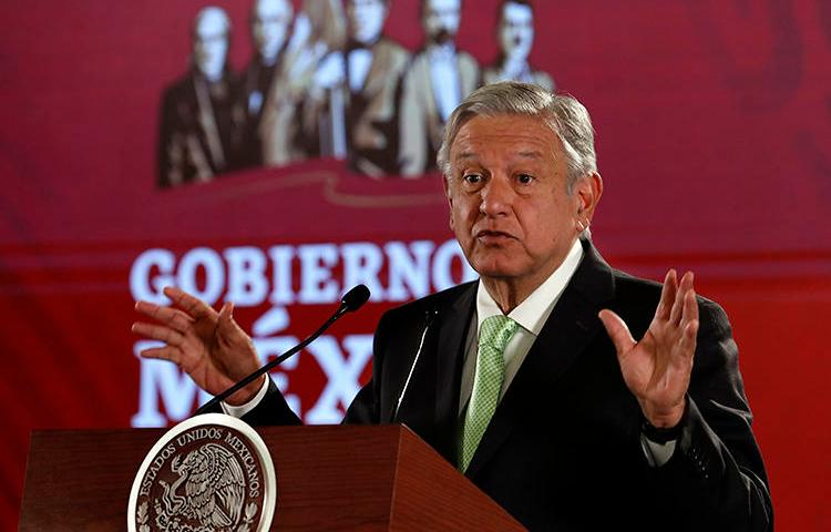 Mexican President Andrés Manuel López Obrador speaks at his daily press briefing at the National Palace in Mexico City on April 12, 2019. During a press briefing on April 23, he criticized a local newspaper, whose editor has since received death threats. (AP/Marco Ugarte)