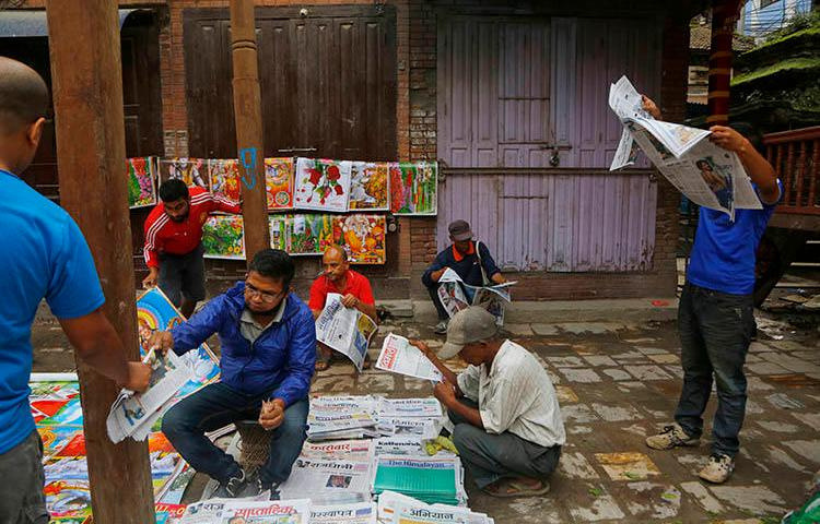 An outdoor newsstand in Kathmandu, Nepal, in September 2018. Police are investigating Tandav News editor Arjun Giri under Nepal's cybercrime act. (AP/Niranjan Shrestha)