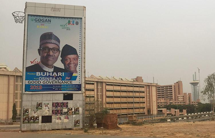 A billboard for Nigeria's incumbent president Muhammadu Buhari and his deputy, who won re-election in February. (CPJ/Jonathan Rozen)