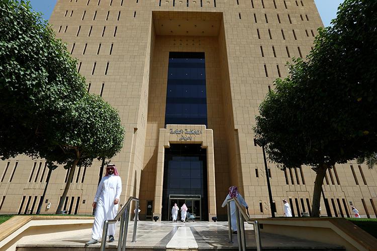 People are seen at the General Court in Riyadh, Saudi Arabia, on July 24, 2018. Jordanian journalist Abdulrahman Farhana was detained by Saudi authorities in February. (Reuters/Faisal Al Nasser)