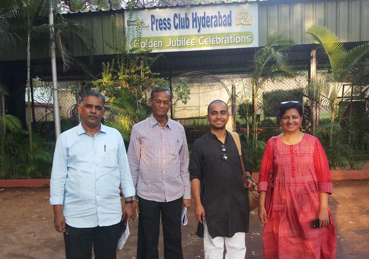 Senior journalists joined CPJ at the Hyderabad press club to discuss safety issues around India's elections. (CPJ)