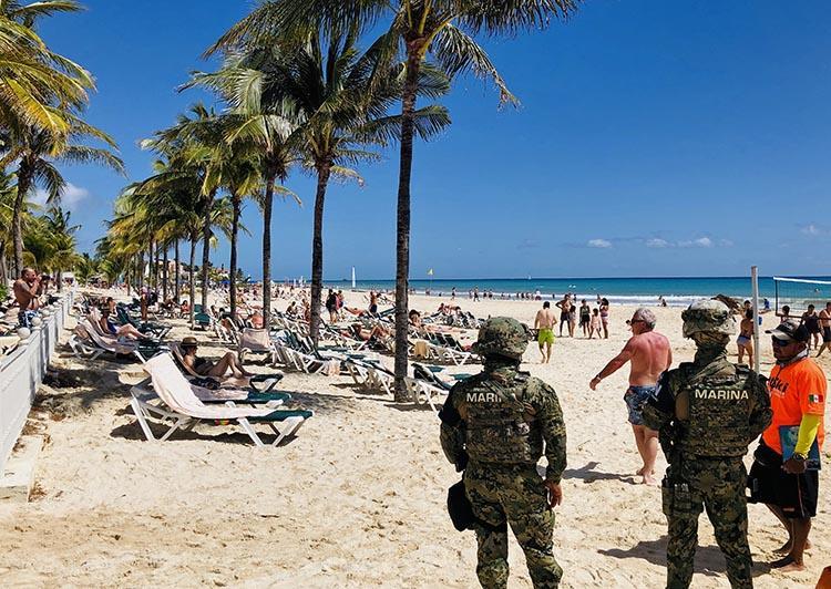 Mexican marines patrol the beach of Playacar, near the resort of Playa del Carmen, in Quintana Roo, in February 2019. Journalist Francisco Romero Díaz was shot dead in Playa del Carmen on May 16. (AFP/Daniel Slim)