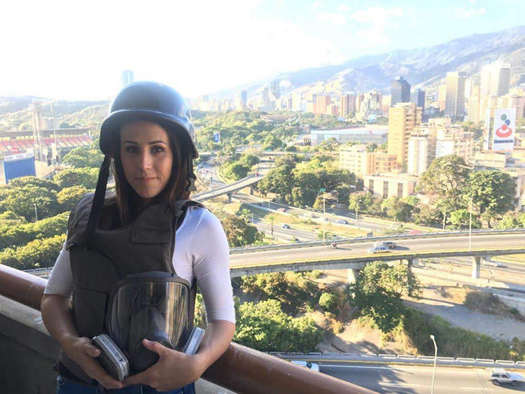 Venezuelan freelancer Andreina Itriago, pictured, says she feels exposed while working in her own country. (Andreina Itriago)