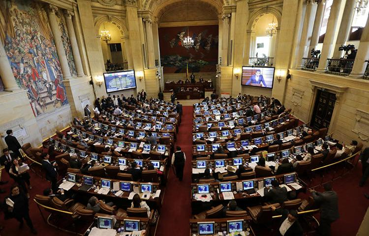 The Colombian congress building is seen in Bogota, Colombia, on December 18, 2018. Several lawmakers recently harassed a New York Times journalist and a local press freedom organization online, prompting the journalist to leave the country. (Reuters/Luisa Gonzalez)