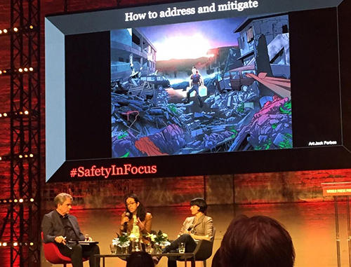 CPJ Emergencies Director María Salazar-Ferro speaks on stage at the World Press Photo Festival in Amsterdam on April 12. (Frontline Freelancers Register/Andalusia Knoll)
