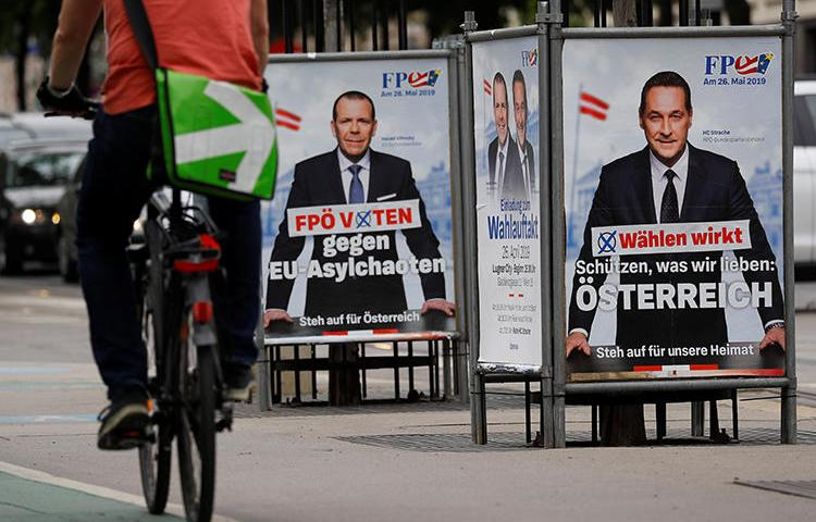 Election posters of Freedom Party candidates Heinz-Christian Strache and Harald Vilimsky are seen in Vienna, Austria, on April 26, 2019. Freedom Party members recently attempted to intimidate news anchor Armin Wolf. (Reuters/Leonhard Foeger)