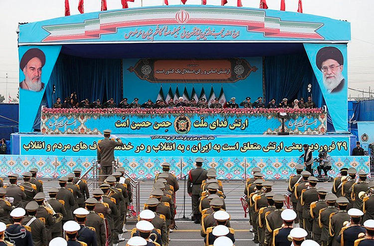 Iranian President Hassan Rouhani delivers a speech during the ceremony of the National Army Day parade in Tehran, Iran April 18, 2019. Iran arrested editor Mohammad Reza Nassab Abdollahi on April 21. (Tasnim News Agency via Reuters)