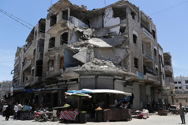 A damaged building is seen in Idlib, Syria, on May 25, 2019. Several journalists were recently injured by government forces in Idlib and Hama. (Reuters/Khalil Ashawi)