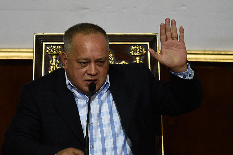 Former vice-president Diosdado Cabello, pictured during a National Constituent Assembly session in January. Venezuela's Supreme Court ordered La Patilla to pay Cabello US$5 million in damages. (AFP/Federico Parra)