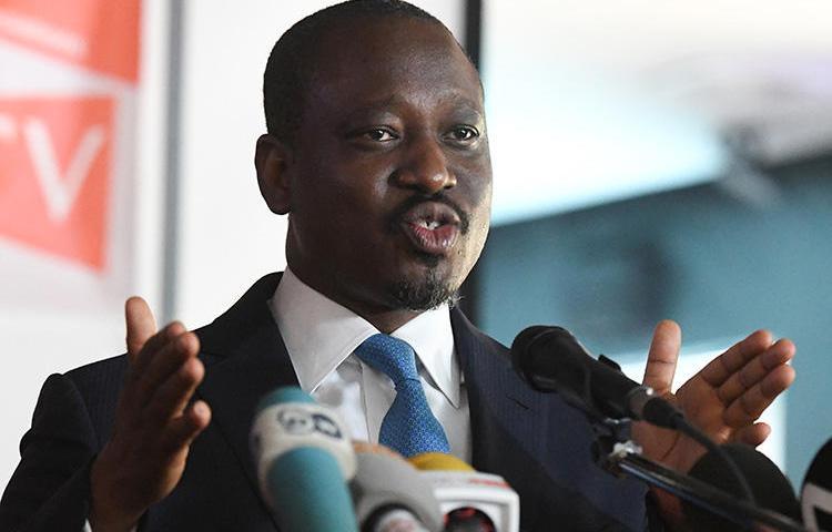 L'homme politique ivoirien Guillaume Soro, photographié à Abidjan en février, a porté plainte contre le directeur d'un hebdomadaire. (AFP/Issouf Sanogo)