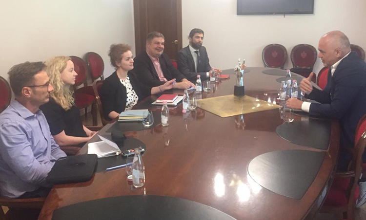 CPJ and representatives from other free expression organizations meet with Albanian Prime Minister Edi Rama on June 20, 2019, in Tirana. (Flutura Kusari)
