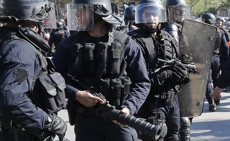 Police are seen in Paris, France, on April 20, 2019. Police in a Paris suburb recently arrested and allegedly assaulted journalist Taha Bouhafs. (AP/Michel Euler)