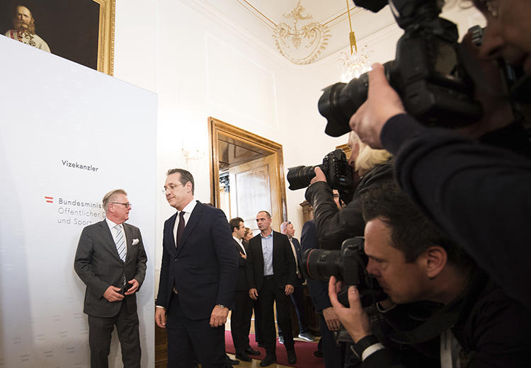 """Former Austrian Vice Chancellor Heinz-Christian Strache is seen in Vienna, Austria, on May 18, 2019. Strache recently filed a criminal complaint against """"all persons"""" involved in the dissemination of a video that led to his resignation. (AP/Michael Gruber)"""