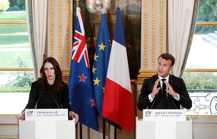 New Zealand Prime Minister Jacinda Ardern, left, and French President Emmanuel Macron hold a press conference at the Elysee Palace in Paris, on May 15, 2019. In the wake of a deadly terror attack in Christchurch, tech regulation in the EU and Australia risks restricting journalism. (Yoan Valat/Pool Photo via AP)