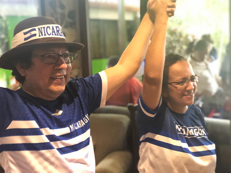 Nicaraguan journalists Miguel Mora, left, and Lucía Pineda in Managua, Nicaragua, after their release from prison on June 11, 2019. (CPJ)