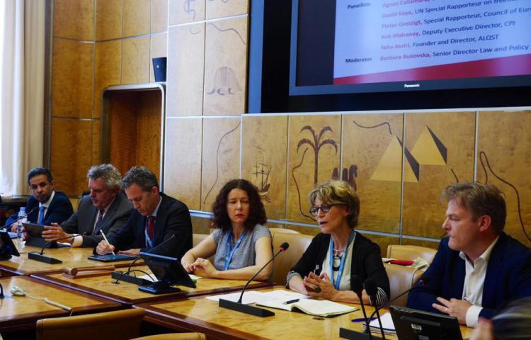 A UN Human Rights Council side event on slain Saudi journalist Jamal Khashoggi in Geneva, Switzerland, on June 27, 2019. Panelists from left to right: Yahya Assiri, director of the U.K.-based Saudi human rights organization Al-Qst; CPJ Deputy Executive Director Robert Mahoney; David Kaye, the UN special rapporteur on the promotion and protection of the right to freedom of opinion and expression; Barbora Bukovská, Article 19's senior director for law and policy; Agnes Callamard, the UN special rapporteur on extrajudicial, summary or arbitrary executions; and Dutch MP Pieter Omtzigt who is also the Parliamentary Assembly of the Council of Europe's special rapporteur tasked with looking into the murder of Maltese journalist Daphne Caruana Galizia. (Right Livelihood Award)