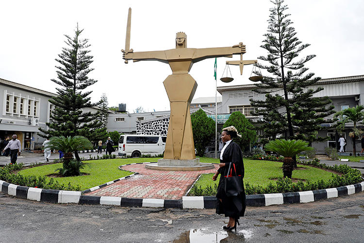 The Federal High Court in Lagos, Nigeria, is seen on May 8, 2018. Journalist Jones Abiri is set to attend a hearing at the high court in Abuja on cybercrime, anti-sabotage, and terrorism charges. (Reuters/Akintunde Akinleye)