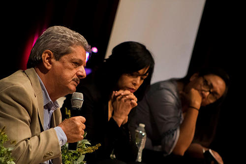 Ismael Bojorquez, Anabel Hernández, and Luz del Carmen Sosa speak on the panel, Impunity in crimes against journalists, at CPJ's press freedom summit in Mexico City on June 18. (Ian Garcíafigueroa)