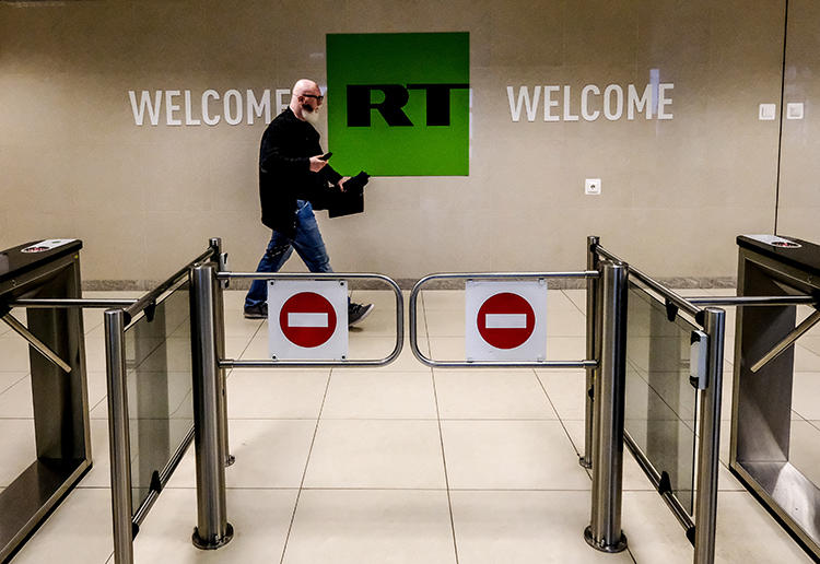 RT's Moscow offices are seen on June 8, 2018. The company is among several foreign-owned outlets that have been forced to register under the Foreign Agent Registration Act in the United States. (AFP/Yuri Kadobnov)