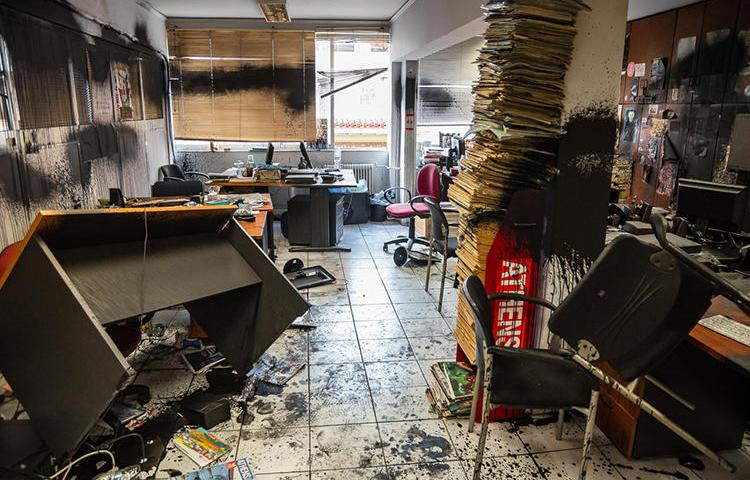 The Athens Voice offices are seen after being ransacked on July 4, 2019. Greek anarchist group Rouvikonas has claimed credit for the attack. (Image via Athens Voice)