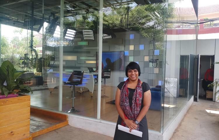 Journalist Revathi Pogadadanda at the Mojo TV office in Hyderabad in April 2019. Pogadadanda was detained by police on July 12, 2019. (Kunal Majumder/CPJ)