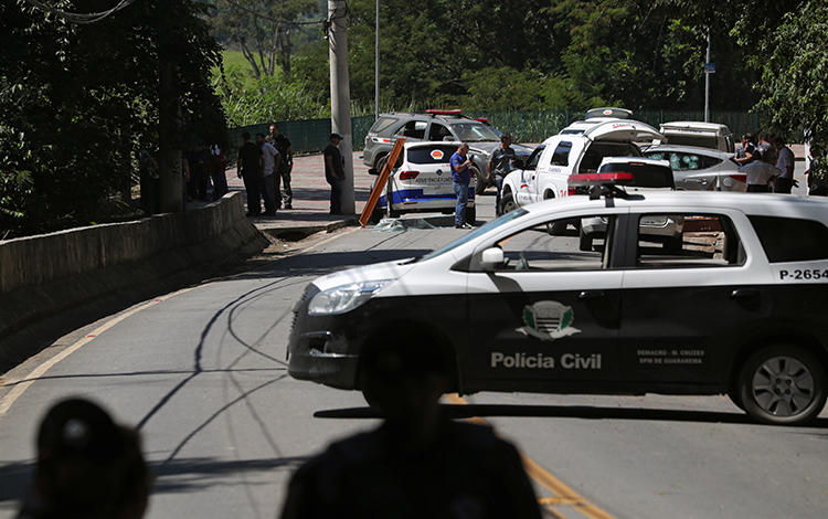 A police car is seen in Guararema, Brazil, on April 4, 2019. Radio reporter Francisco José Jorge de Sousa's home was recently bombed in Ipu, Ceará state. (Reuters/Amanda Perobelli)