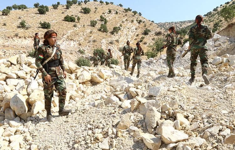 Kurdish Peshmerga soldiers are seen in Erbil, Iraq, on July 9, 2019. Peshmerga forces recently detained journalist Zuber Bradosti. (Reuters/Ako Rasheed)