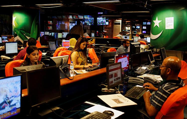 The offices of Geo News are seen in Karachi, Pakistan, on April 11, 2018. The network was recently blocked in many parts of the country. (Reuters/Akhtar Soomro)