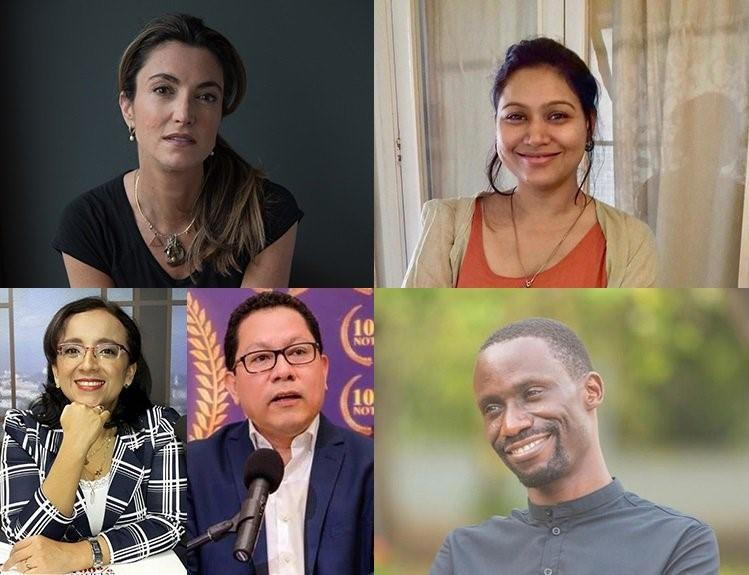CPJ's 2019 International Press Freedom Award winners. Clockwise from top left: Patrícia Campos Mello (Marcos Villas Boas); Neha Dixit (Rajni George); Maxence Melo Mubyazi (Jamii Forums); and Miguel Mora and Lucía Pineda Ubau (100% Noticias).