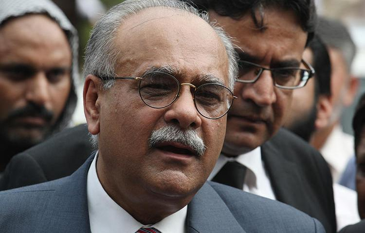 Najam Sethi is seen in Lahore, Pakistan, on July 21, 2014. Sethi's TV program was recently cancelled after receiving complaints from Prime Minister Imran Khan. (AP/K.M. Chaudary)