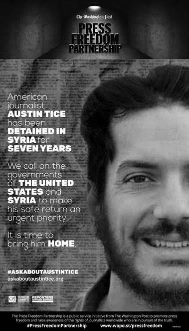 A print ad for Austin Tice appeared in The Washington Post on Wednesday, August 7, 2019. (The Washington Post)