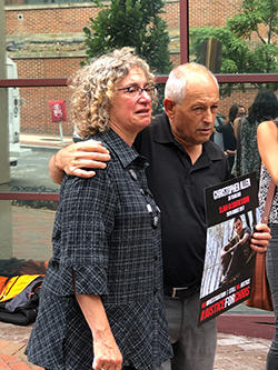 John Allen and Joyce Krajian at a Washington, D.C., vigil for their son, Christopher Allen, who was killed in South Sudan two years ago. (CPJ)