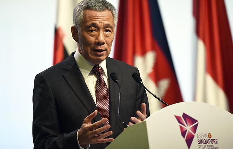 Singapore Prime Minister Lee Hsien Loong is seen in Singapore on November 15, 2018. The prime minister recently threatened to sue the editor of a local news website for libel. (AFP/Lillian Suwanrumpha)