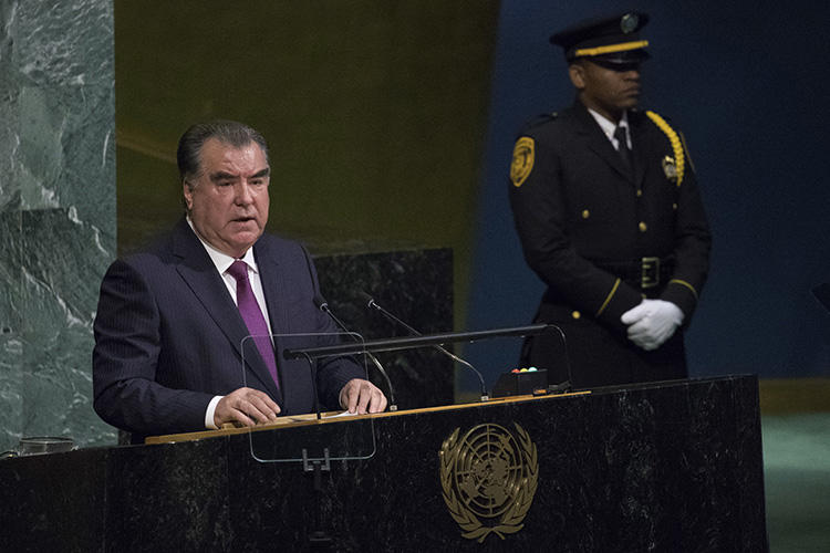 President of Tajikistan Emomali Rahmon speaks during the United Nations General Assembly at U.N. headquarters, on September 19, 2017. The independent Tajik news agency Asia Plus has been offline since August 19, 2019. (AP Photo/Mary Altaffer)