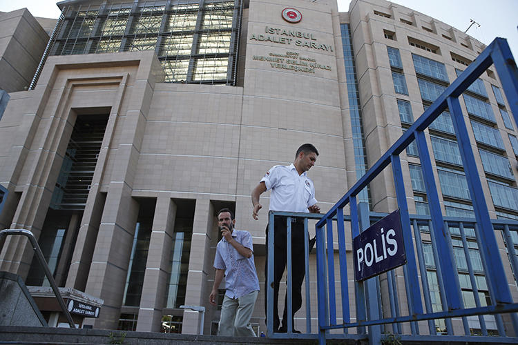 A court where journalists from the Zaman newspaper were tried is seen in Istanbul on July 6, 2018. CPJ joined 12 other groups in issuing a statement calling on U.N. member states to urge Turkey to improve its freedom of speech record. (AP/Lefteris Pitarakis)