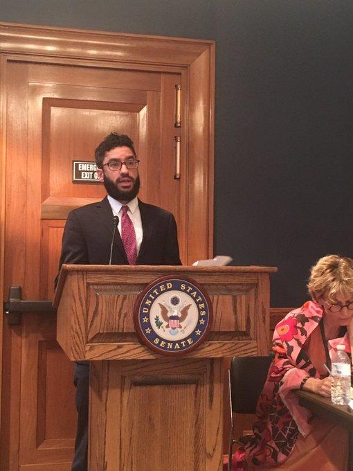 CPJ Senior Middle East and North Africa Researcher Justin Shilad speaks on Capitol Hill on September 26. (Margaux Ewen/James W. Foley Legacy Foundation)