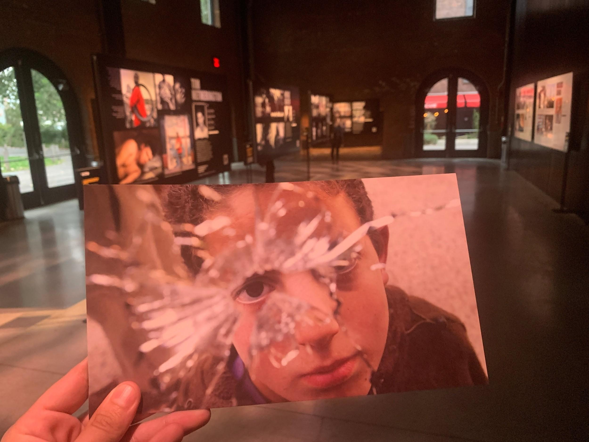 """The """"Journalists Under Fire"""" exhibition is seen at Photoville in New York. (CPJ/Ahmed Zidan)"""